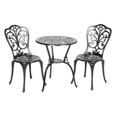 3-Piece Triora Blacksmith Finish Cast Aluminum Outdoor Bistro Set with 24 in. Table and 34 in. Chairs