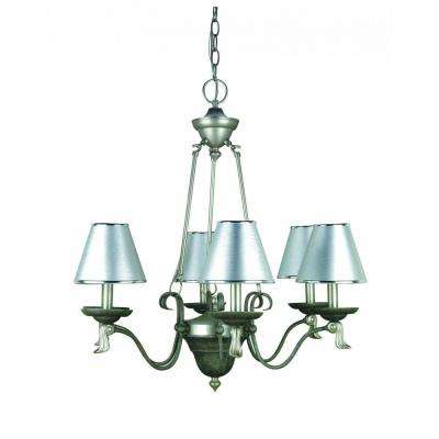 6-Light Pewter Chandelier with Silver Paper Shades