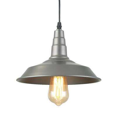 1-Light Silver Farmhouse Ceiling Barn Pendant