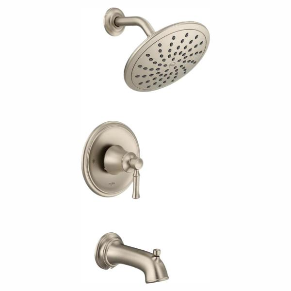 Dartmoor Posi-Temp Rain Shower Single-Handle Tub and Shower Faucet Trim Kit in Brushed Nickel (Valve Not Included)