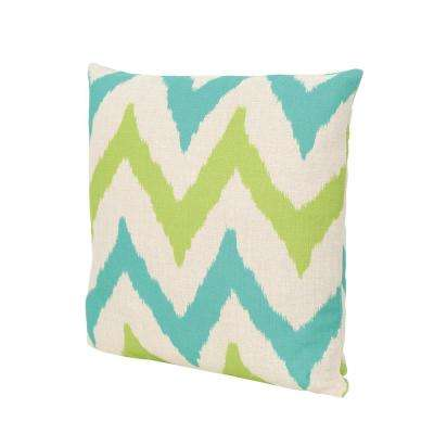 Adriatic Teal and Green Square Outdoor Throw Pillow