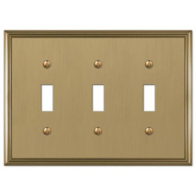 Rhodes 3 Gang Toggle Metal Wall Plate - Brushed Bronze