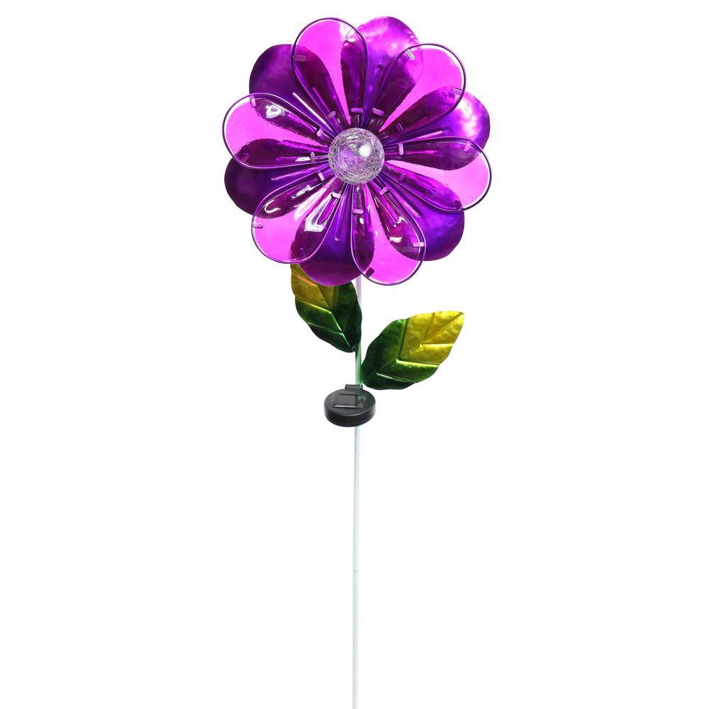 Solar Purple Flower Garden Stake