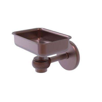 Satellite Orbit One Wall Mounted Soap Dish with Twisted Accents in Antique Copper