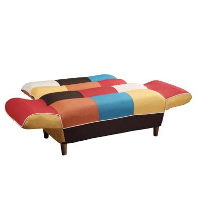 46.5 in. Multi-Colored Linen 2-Seater Twin Sleeper Sofa Bed with Tapered Legs