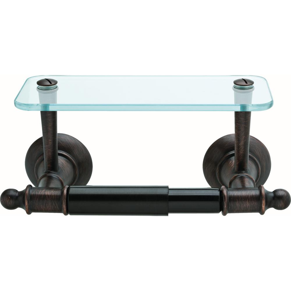 Delta Toilet Paper Holder With Glass Shelf In Spotshield