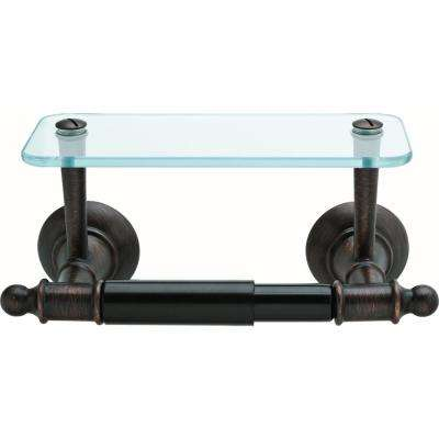 Toilet Paper Holder with Glass Shelf in SpotShield Venetian Bronze