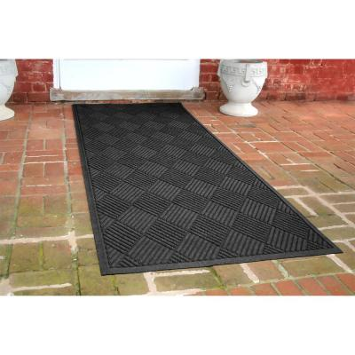 Aqua Shield Diamonds 3 ft. x 8 ft. Runner Charcoal