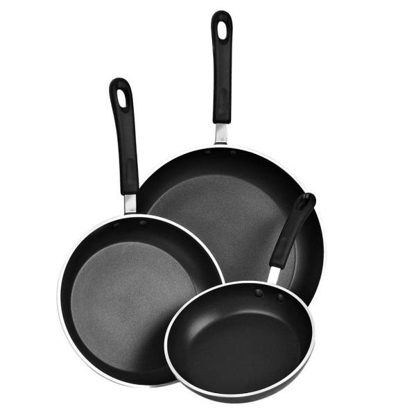 Cook N Home 3 Piece Aluminum Nonstick Frying Pan Set In Black 02476 The Home Depot