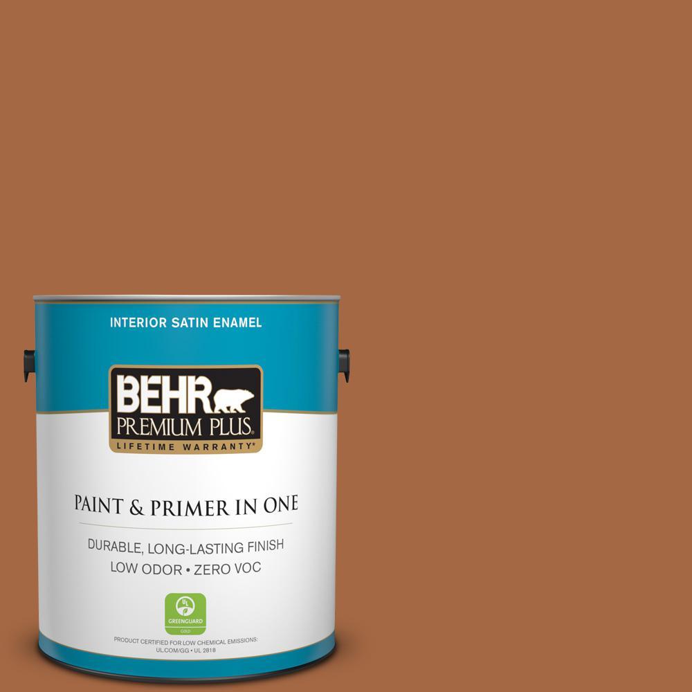 1 gal. #PPU3-16 Maple Glaze Zero VOC Satin Enamel Interior Paint
