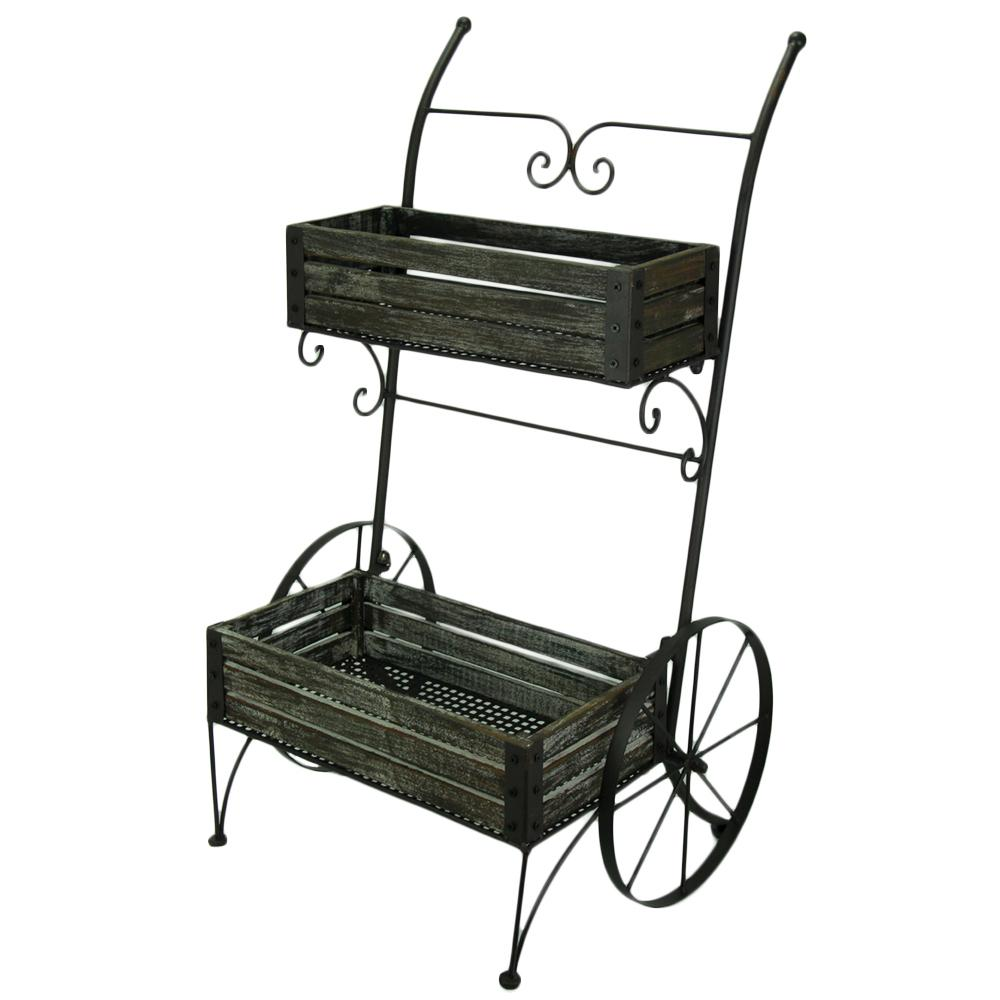 Transpac Freestanding 2 Tier Metal Framed Garden Cart Plant Stand