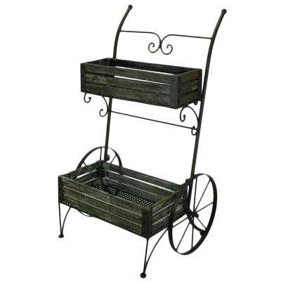 Freestanding 2-Tier Metal Framed Garden Cart Plant Stand with Wooden Flower Pot Holders