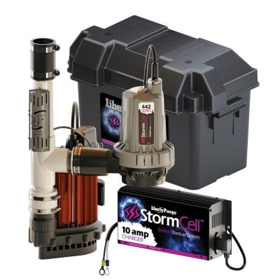 1/3 HP Submersible Sump Pump and Storm Cell Back-Up Pump System with Alarm