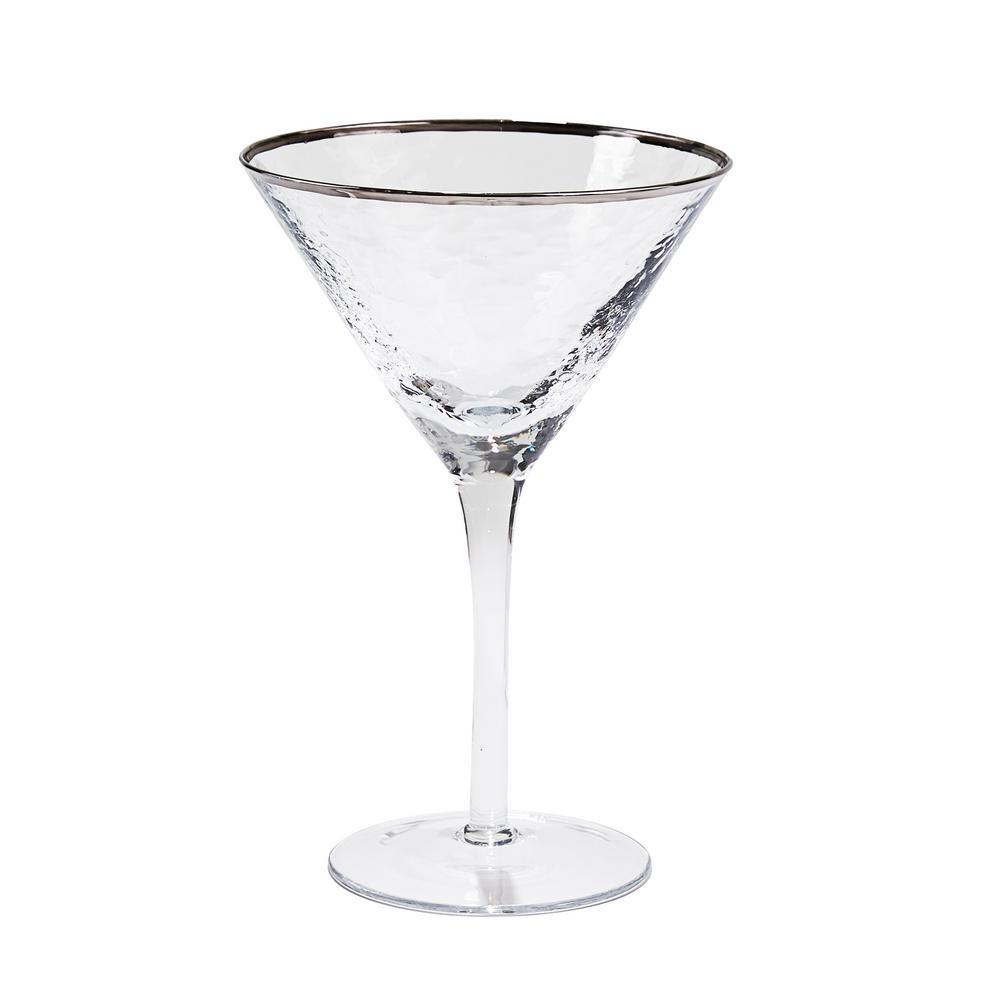 8 oz. Metallic Silver Rim Martini Glass (Set of 4)