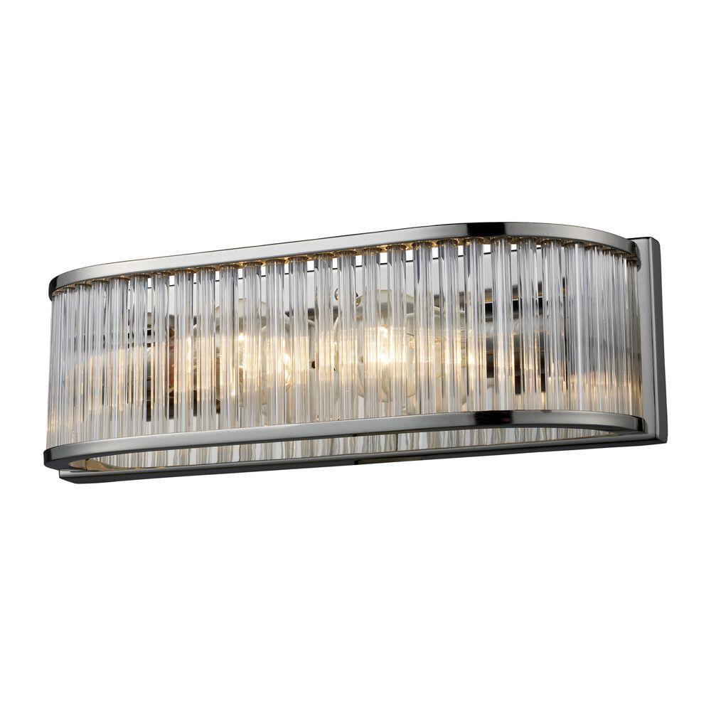 Titan Lighting Braxton 2 Light Polished Nickel Wall Vanity Light Tn