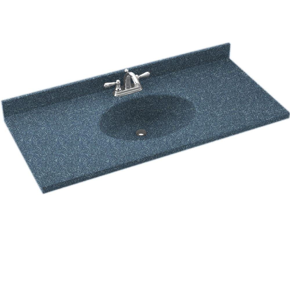 Swanstone Chesapeake 37 in. Solid Surface Vanity Top with Basin in Wild Indigo-DISCONTINUED