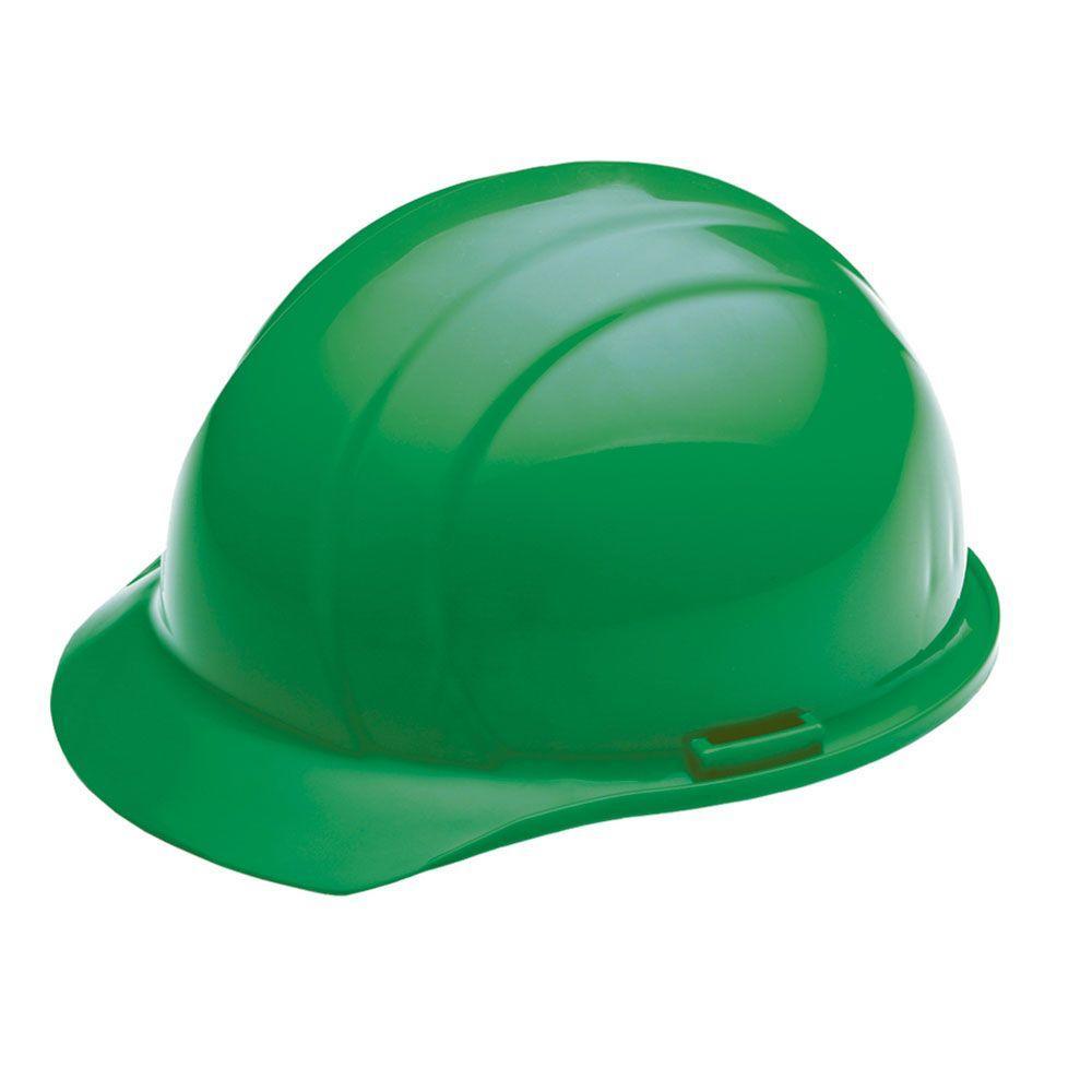 4 point nylon suspension mega ratchet cap hard hat in green