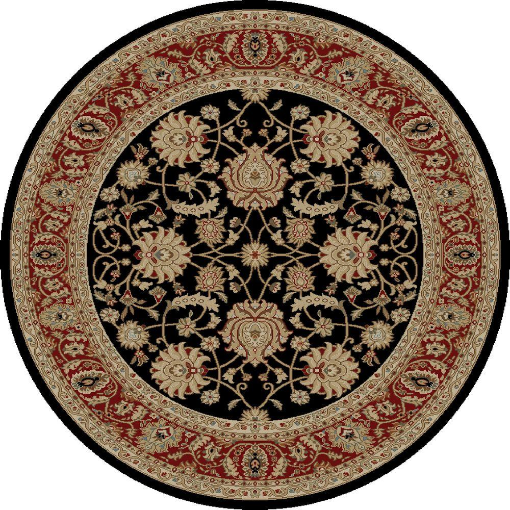 Concord Global Trading Ankara Mahal Black 5 ft. 3 in. Round Area Rug