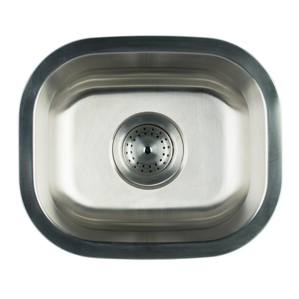 Undermount Stainless Steel 15 in. Single Bowl Kitchen Sink With Strainer