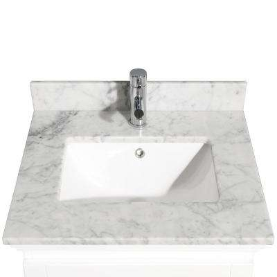 Acclaim 24 in. W x 22 in. D Marble Single Basin Vanity Top in White with White Basin