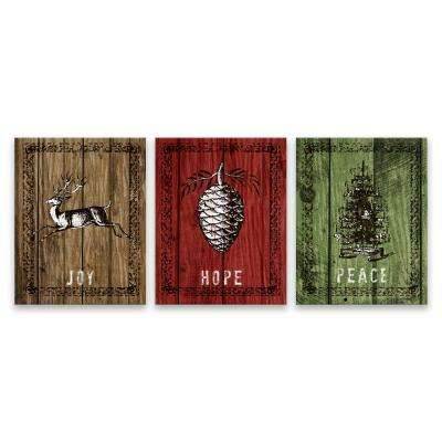 """Peace, Hope, Joy - Set of 3"" by Lot26 Studio Printed Canvas Wall Art"