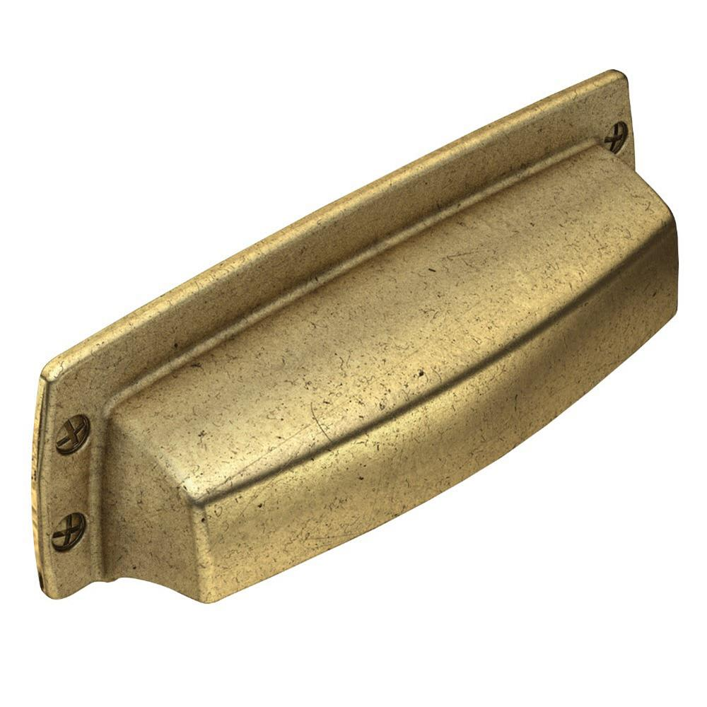 Liberty Soft Industrial 3 in. (76 mm) Center-to-Center Bedford Brass Cup Drawer Pull