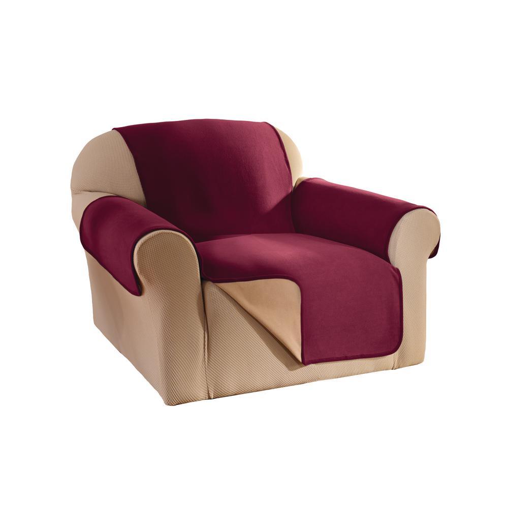 Burgundy Reversible Waterproof Fleece Chair Furniture Protector