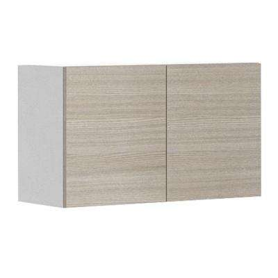Ready to Assemble 30x18x12.5 in. Geneva Wall Bridge Cabinet in White Melamine and Door in Silver Pine