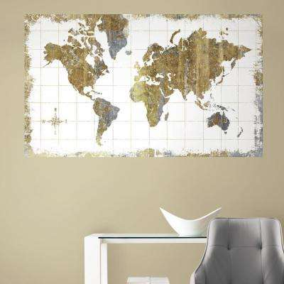 60 in. W x 36 in. H Gold Map 2- Piece Peel and Stick Wall Decal Mural