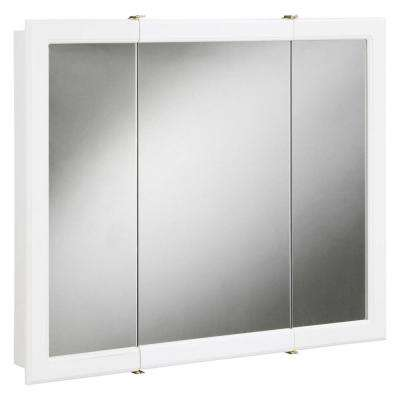 Concord 30 in. x 30 in. Tri-View Surface-Mount Medicine Cabinet in White Gloss