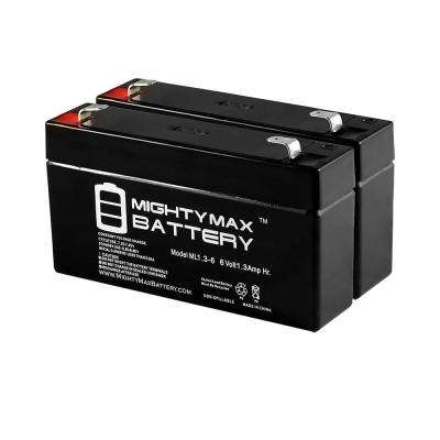 6-Volt 1.3 Ah SLA (Sealed Lead Acid) AGM Type Replacement Battery for Alarm/Security Systems (2-Pack)