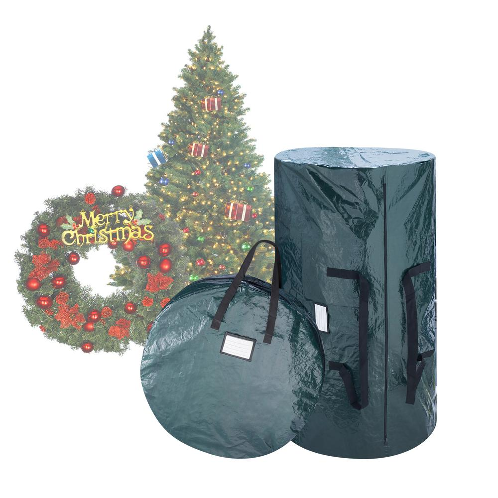 elf stor green extra large artificial tree and wreath. Black Bedroom Furniture Sets. Home Design Ideas
