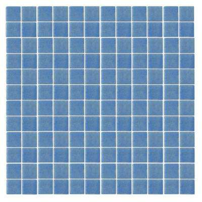 Oceanz O-Blue-1721 Mosaic Recycled Glass Anti Slip 12 in. x 12 in. Mesh Mounted Floor & Wall Tile (5 sq. ft. / case)