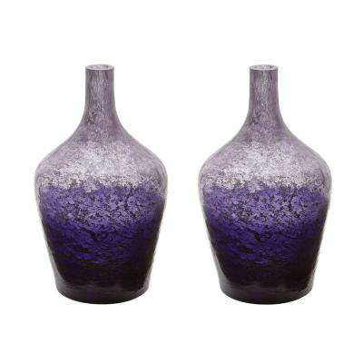 Ombre 6 in. x 6 in. Plum Glass Decorative Bottle (Set of 2)