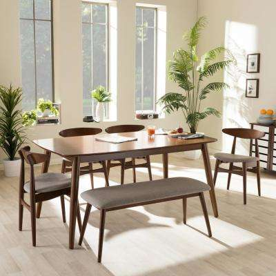 Flora 6-Piece Gray Fabric and Medium Brown Wood Dining Set