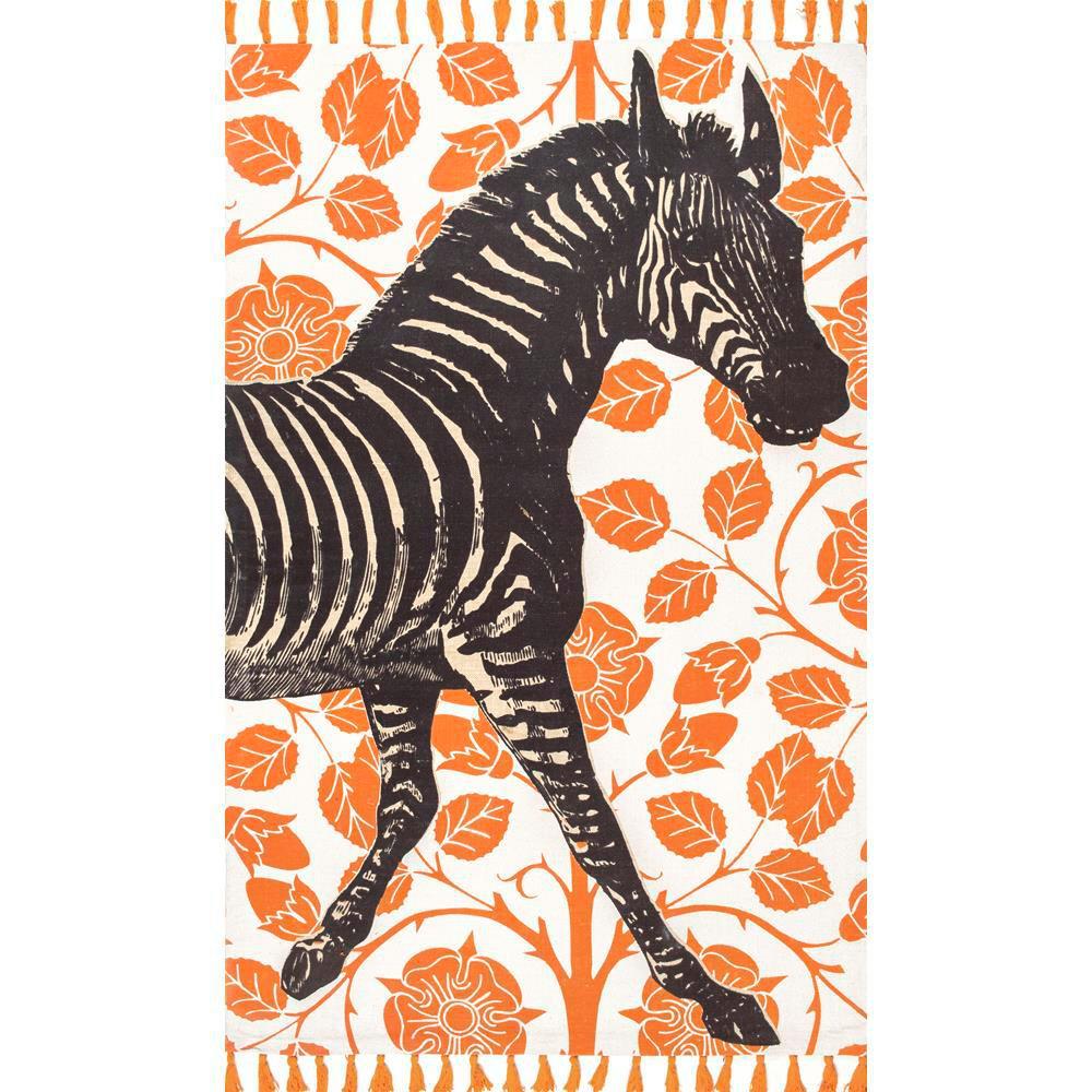 Thomas Paul Flat Weave Zebra Tassel Orange 5 Ft. X 8 Ft. Area Rug