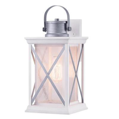 Pendleton 1-Light Satin White 16 in. Outdoor Wall Lantern Sconce with Antique Silver Accents