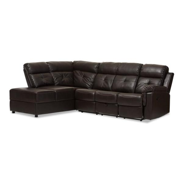 Charmant Baxton Studio Roland 2 Piece Contemporary Brown Faux Leather Upholstered  Left Facing Chase Sectional Sofa