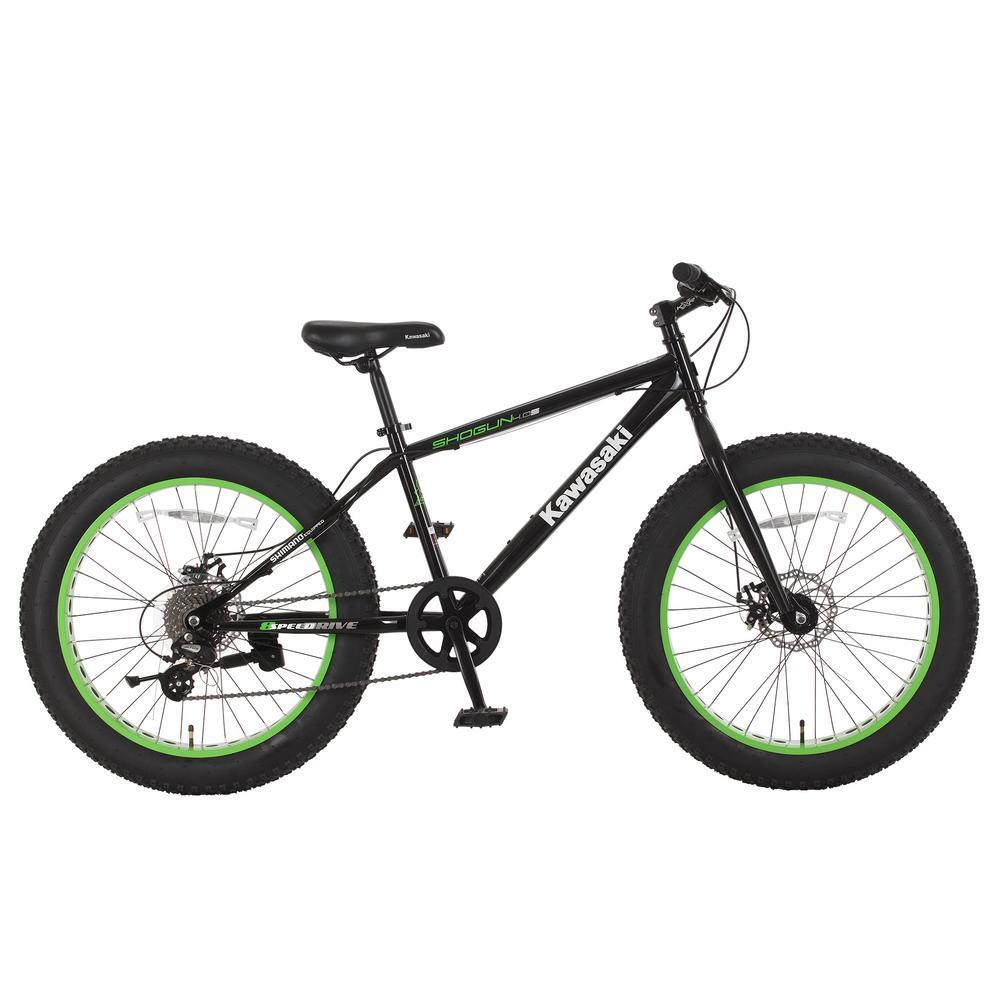 Kawasaki 24 in. x 4 in. Wheels Black Shogun Fat Tire Bike...