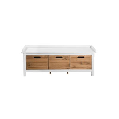 Irving 1.0 White and Natural Wood Entryway Storage Bench