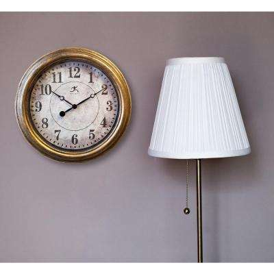 15.5 in. x 15.5 in. Aged Silver and Gold Round Wall Clock