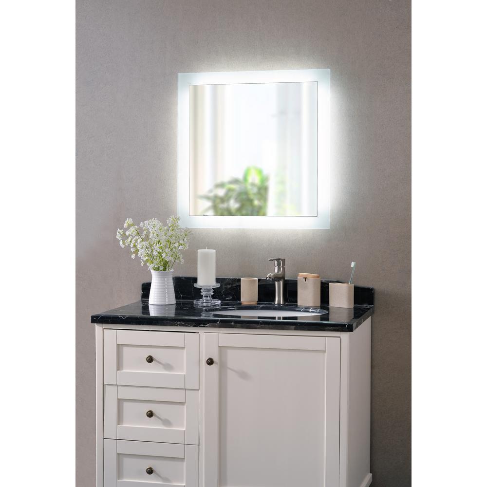 Kenroy Home Darina 4-Light Square Silver LED Bathroom Mirror-93797 ...