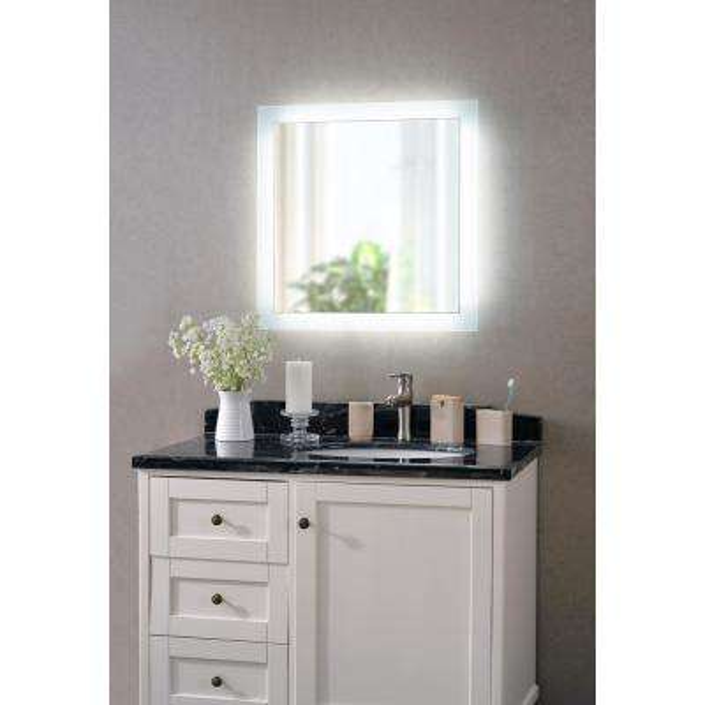 Darina 4-Light Square Silver LED Bathroom Mirror