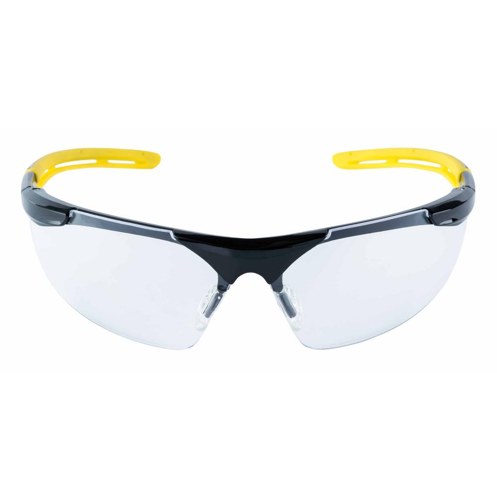 b2cab581cd 3M Safety Eyewear Glasses Black Frame with Yellow Accents Clear Anti Fog  and Scratch Resistant Lens (Case of 6)-90209-HV6-NA - The Home Depot