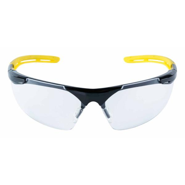 Safety Eyewear Glasses Black Frame with Yellow Accents Clear Anti Fog and Scratch Resistant Lens (Case of 6)