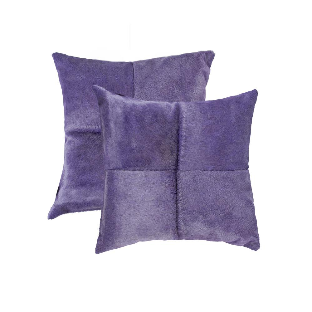 natural Torino Quattro Cowhide 18 in. x 18 in. Purple Pillow (Set of 2)