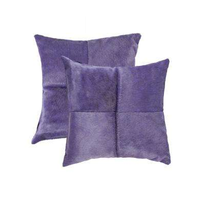 Torino Quattro Cowhide 18 in. x 18 in. Purple Pillow (Set of 2)