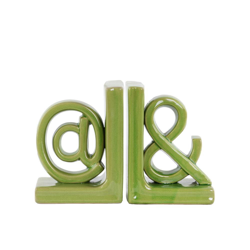 H Alphabet Decorative Sculpture In Green Gloss Finish 11236 Ast The Home Depot