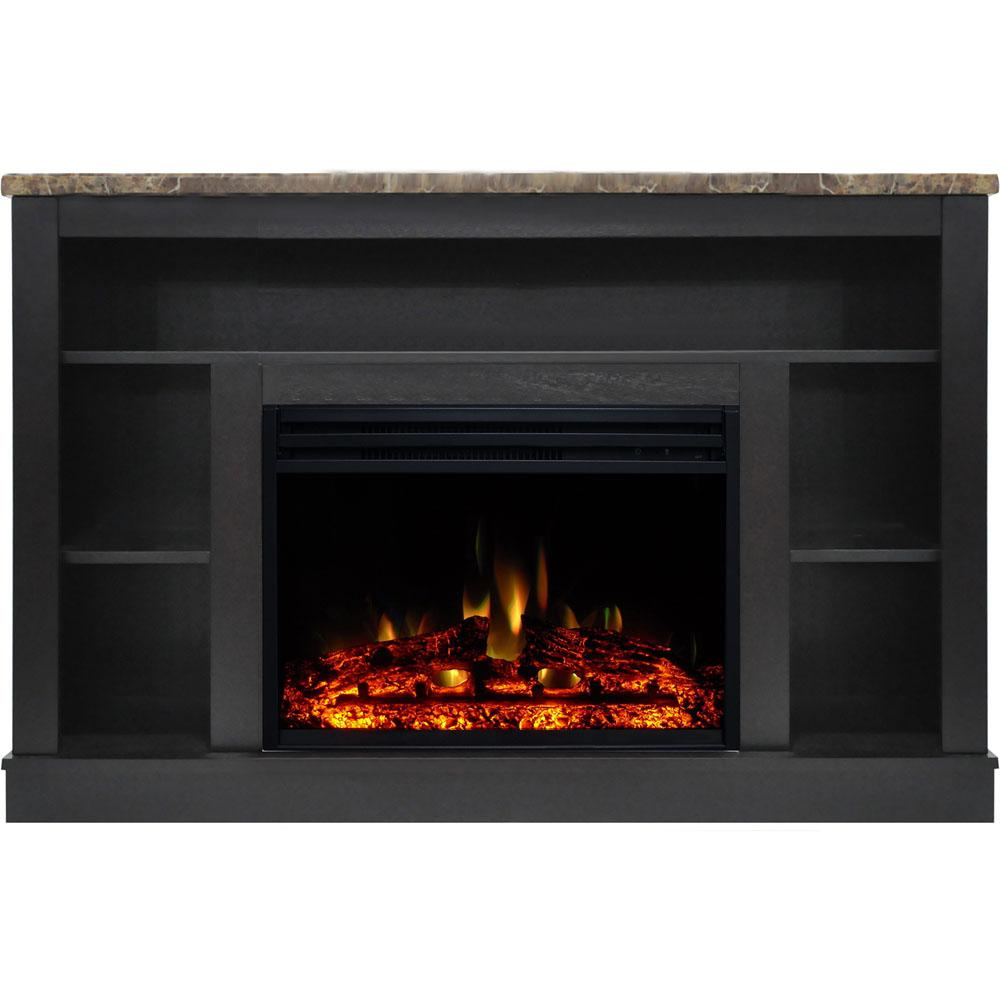 Cambridge Seville 47 in  Electric Fireplace Heater TV Stand in Dark Coffee  with Enhanced Log Display and Remote Control