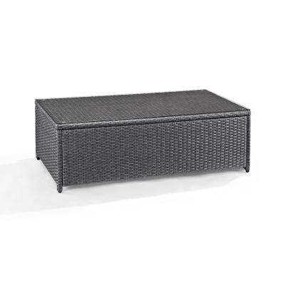 Palm Harbor Grey Wicker Outdoor Glass Top Coffee Table
